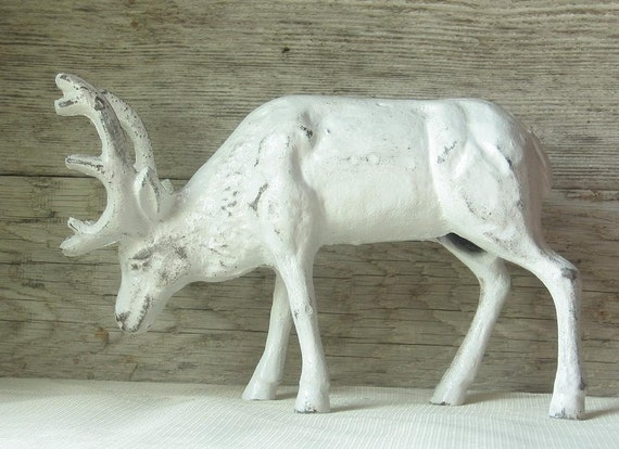 Last One --- Cast Iron Moose/Deer Doorstop Painted in Rustic White