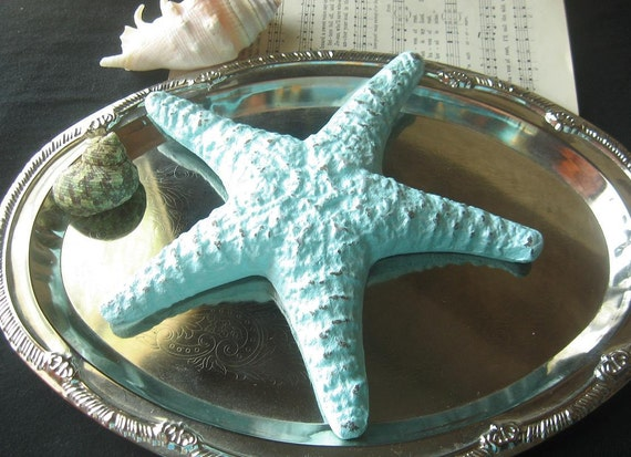 Coastal Decor Large  Cast Iron Starfish Paper Weight/ Conversation Piece in Jamaica Blue