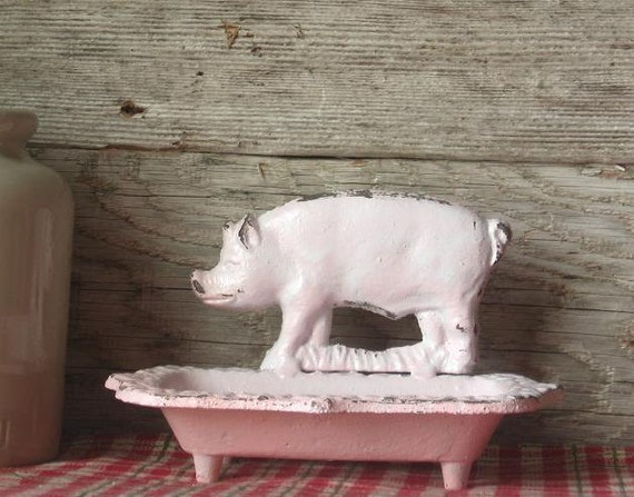 Cast Iron Pig Business Card Holder/ Soap Dish Painted in Light Pink