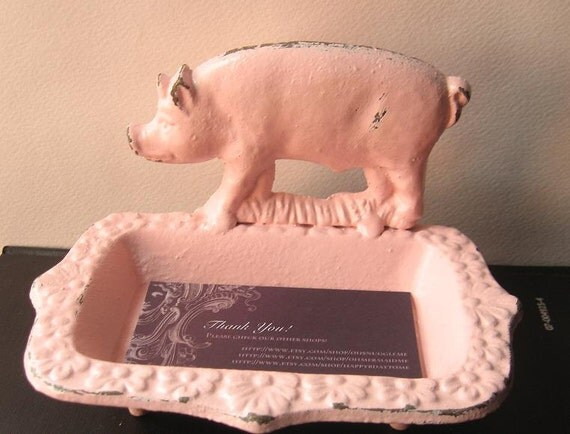 Cast Iron Pig Business Card Holder/ Soap Dish Painted in Pink