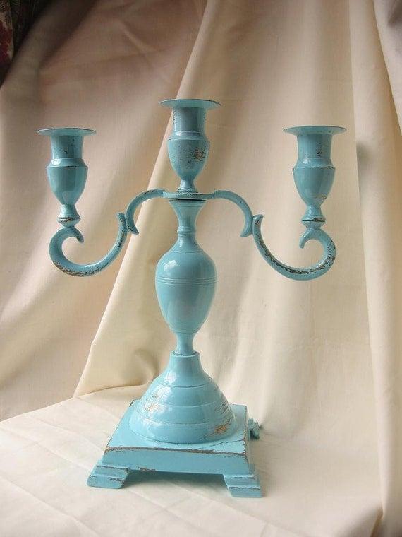 SALE-Candle Stick Holder in Chippy Light Blue/ Robins Egg Blue/Cottage Chic