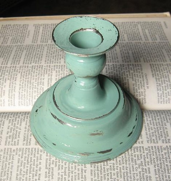 Shabby Chic Chippy Sage Candle Stick Holder