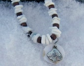 Surfer's Shell Chip Necklace with Clam Pendant