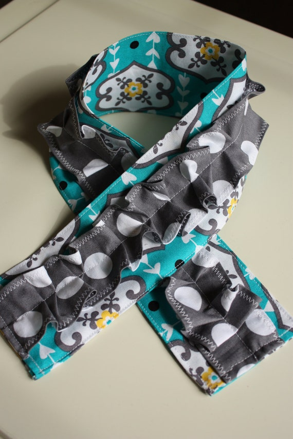 ONLY 1 LEFT (see below): Teal, Grey, & Yellow with Grey Polka Dot Ruffle Camera Strap Slip Cover (Michael Miller fabric)