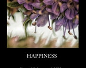 Happiness Inspirational 11x14 Poster Art Print - chinese proverb floral art famous quote - affordable home decor