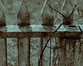 Sepia Picket Fence 12x12 textured print - weathered wood vintage picket fence - affordable home decor