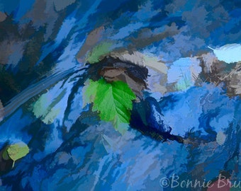 Floating Leaves Painted Photo waterscape, bubbling stream, floating leaves, photo art print