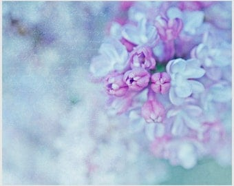 Lilac-Scented Words fine art wall decor for spring and summer, vintage handwriting, photo art print, tiny buds, dreamy light