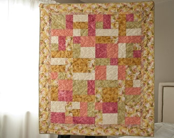 Pink Gold Cotton Baby Quilt / Lap Quilt / Throw