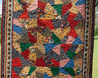 Quilt from the Book The Quilt Maker's Gift - jewel tone baby blanket WITH book