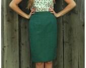 Vintage Turqoise Pencil Skirt