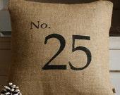 No. 25...a Christmas Burlap Pillow Cover