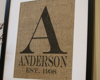 Free US Shipping...Modern Personalized Wedding Burlap Print...Great for wedding gift, engagement gift, anniversary gift!