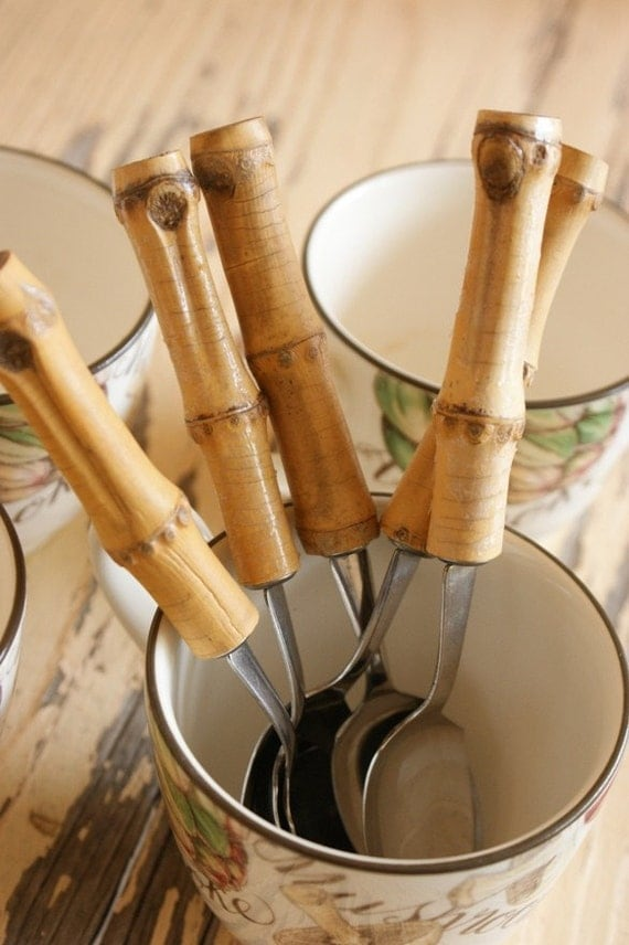 Vintage Bamboo Grapefruit Spoons