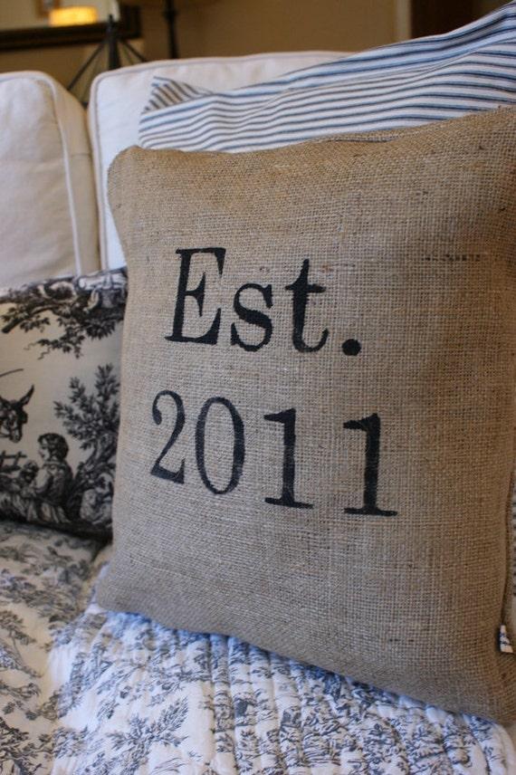 Handpainted Established Wedding, Anniversary & Housewarming Date Pillow Cover