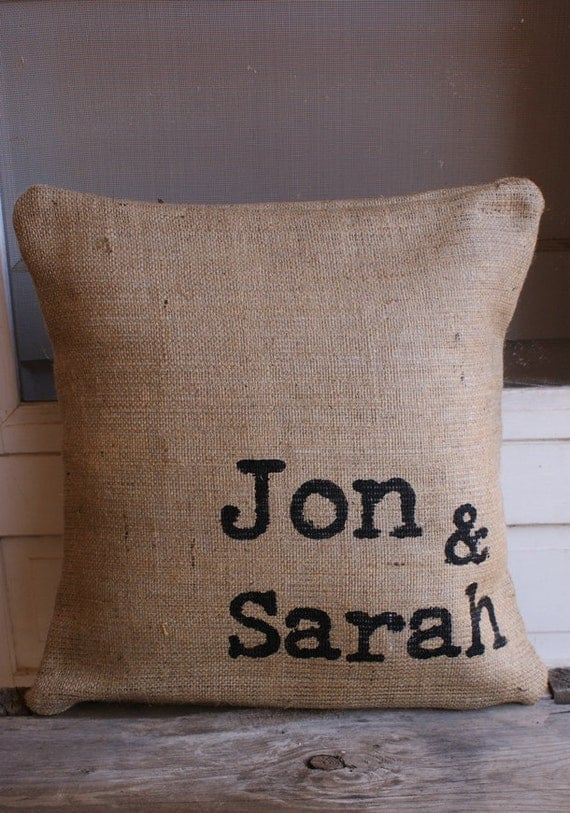 NEW...Vintage Typewriter Engagement or Wedding Off-centered Burlap Pillow Cover 18x18