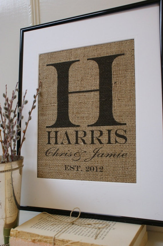 Free US Shipping...Personalized Rustic Wedding Burlap Artwork...Great for wedding, engagement, anniversary gift
