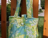 Large Pleated  Bucket Purse in Heather Bailey Nicey Jane Blue