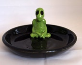 Porcelain Alien trinket pin dish, hand crafted