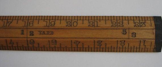 Antique Wooden Brass Ruler Two Feet Kerby Bro. N.Y.