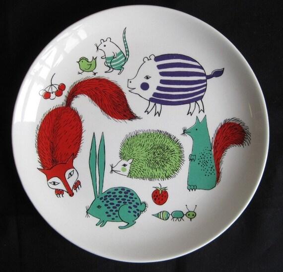 Vintage 60s Arabia Finland Children's Plate Animals