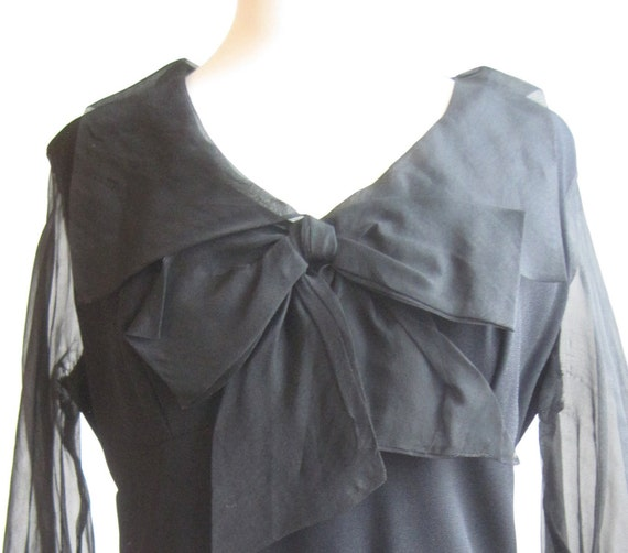 Vintage 60s Mod Goth Dolly Bird Mini Black Party Dress With Bow
