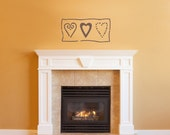 Heart Wall Decal - Country Hearts Decal - Living Room Wall sticker