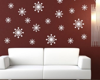 Fifties Starbursts Wall Decal Set - Retro Wall Stickers - Set of 23 - Starbursts Vinyl Wall Art