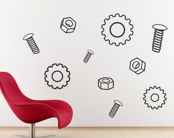 Nuts Bolts & Gears Decal - Vinyl Wall Art Decal - Boys Room - Children Wall Decals
