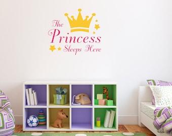 The Princess Sleeps Here Decal - Princess Crown Wall Sticker - Girl Bedroom Wall Art