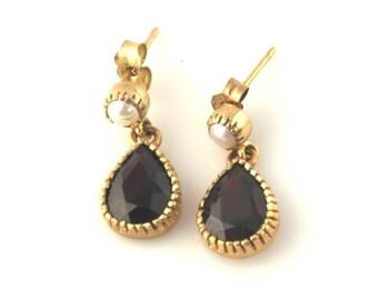 SALE: Bohemian Garnet and Pearl 9K Gold Earrings
