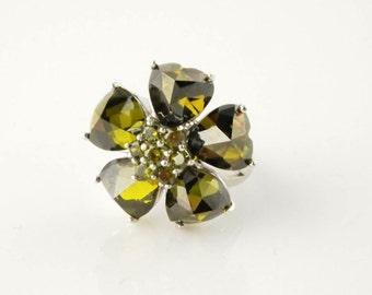 SALE: Crystal Flower Ring - Sterling Silver