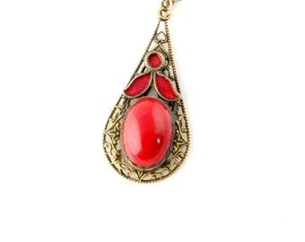 SALE: Red Enamel Necklace - Vintage