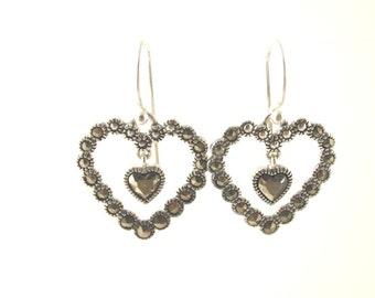 SALE: Sterling Marcasite Heart Earrings - Vintage