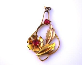 SALE: Floral Gold Filled Lavaliere - Vintage