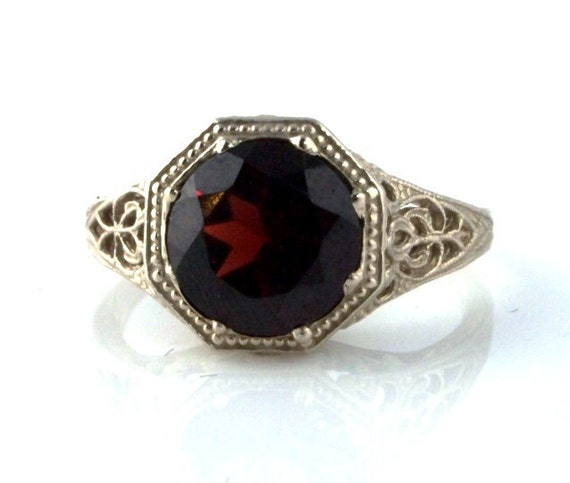 sale garnet ring white gold