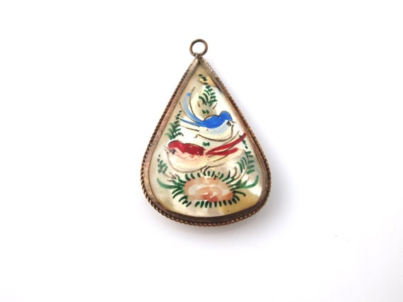 SALE: Painted Mother of Pearl Pendant - Birds & Ladies - Vintage