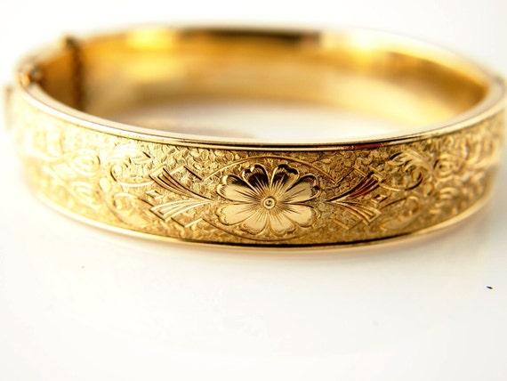 SALE: Victorian Gold Filled Bangle Bracelet - Floral - Vintage