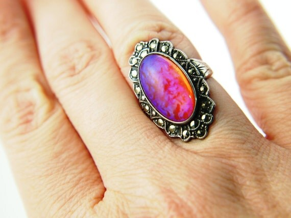 Dragon's Breath Opal Marcasite Ring - Sterling Silver - Vintage