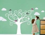 Swirly Tree with Cute Birds Decal - Kids Vinyl Wall Sticker