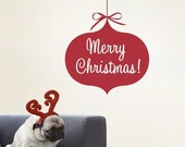 Holiday Ornament Merry Christmas - Holiday Vinyl Wall Decal Sticker