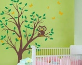 THE BUMP FEATURED - Tree with Owl and Butterflies Decal Set - nursery wall decal