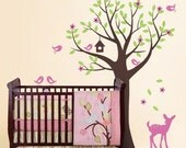Tree with Birds and Fawn Decal Set - Kid's Nursery Room Wall Decal