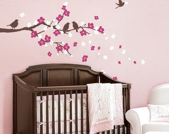 Cherry Blossom Branch with Birds - Kids Vinyl Wall Sticker Decal Set