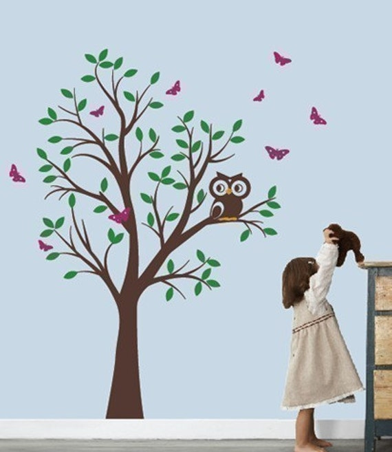 Tree Vinyl Wall Decal Sticker - Tree with Owl and Butterflies - Simple Installation