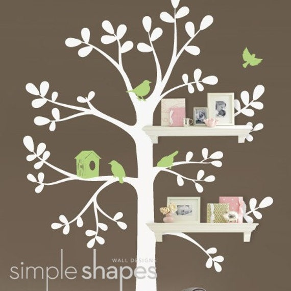 NEW - Shelving  Tree with Birds - LARGE  Kids Vinyl Wall Sticker Decal Art