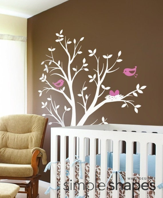 THE ORIGINAL Tree with Birds and Nest Decal - Children's Vinyl Wall Sticker