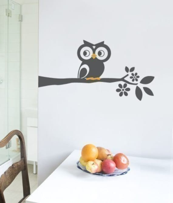 Owl on a Branch Decal - Cute Vinyl Wall Sticker