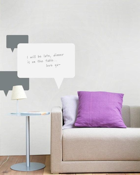 Unique Dry Erase Board Decal - Talking Bubbles - Vinyl Wall Sticker