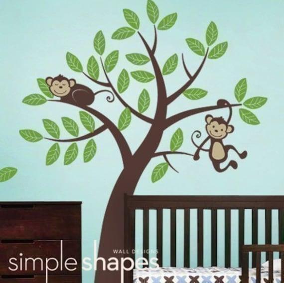 Tree with Monkeys - Kids Vinyl Wall Sticker Decal Set